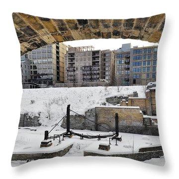 Mill Ruins Park Winter Throw Pillow