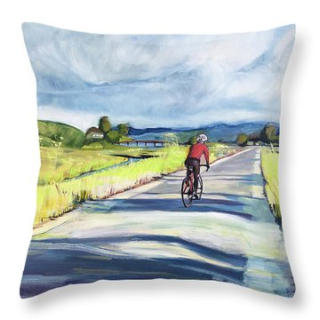 Mill Valley Bike Path Throw Pillow by Colleen Proppe