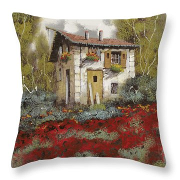 Mille Papaveri Throw Pillow by Guido Borelli
