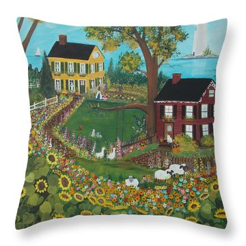 Throw Pillow featuring the painting Millefiori by Virginia Coyle
