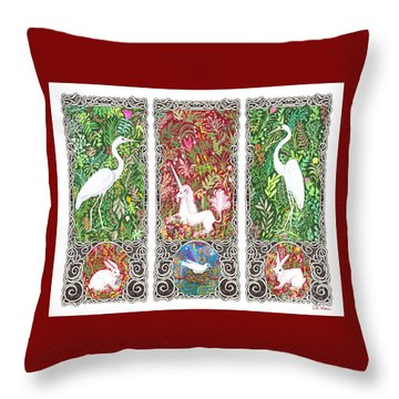Throw Pillow featuring the drawing Millefleurs Triptych With Unicorn, Cranes, Rabbits And Dove by Lise Winne