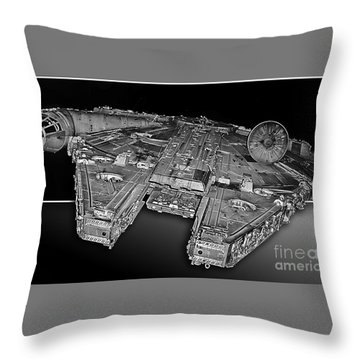 Millennium Falcon Attack Throw Pillow