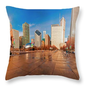 Throw Pillow featuring the photograph Millennium Park Skyline And The Bean  by Tom Jelen
