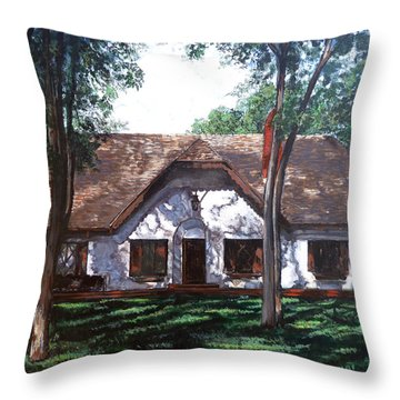 Throw Pillow featuring the painting Miller Homestead by Tom Roderick
