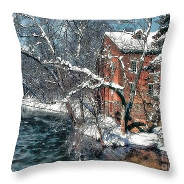 Mill House In Winter Throw Pillow