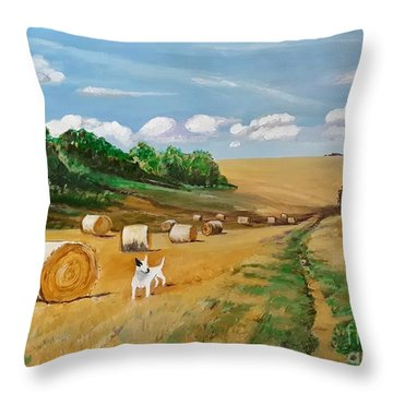 Millie's Day Out - Painting  Throw Pillow