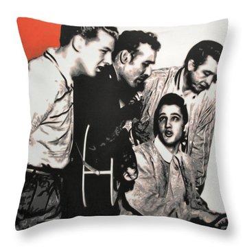 Million Dollar Quartet Throw Pillow by Luis Ludzska