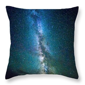 Millky Way Over Lodgepole Pines Throw Pillow