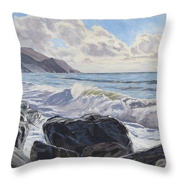 Throw Pillow featuring the painting Millook Haven by Lawrence Dyer