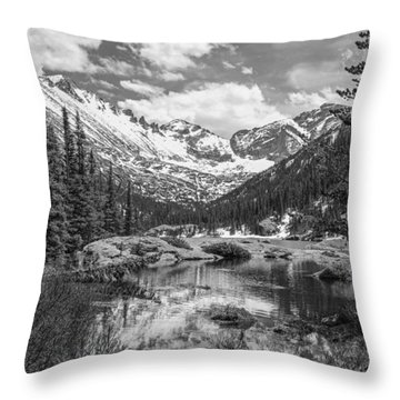 Mills Lake Black And White Throw Pillow by Aaron Spong