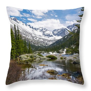 Mills Lake - Rocky Mountain National Park Throw Pillow by Aaron Spong