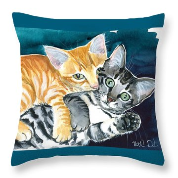 Milo And Tigger - Cute Kitty Painting Throw Pillow