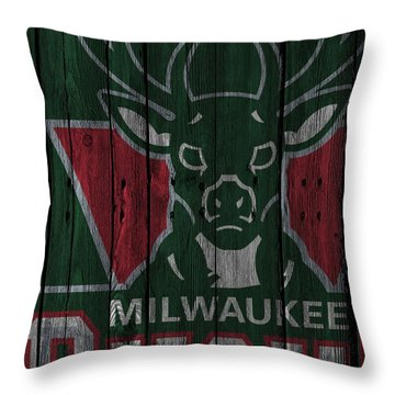 Milwaukee Bucks Wood Fence Throw Pillow
