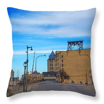 Throw Pillow featuring the digital art Milwaukee Cold Storage Co by David Blank