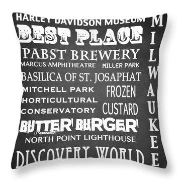 Milwaukee Famous Landmarks Throw Pillow