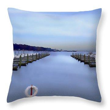 Milwaukee Marina November 2015 Throw Pillow by David Blank