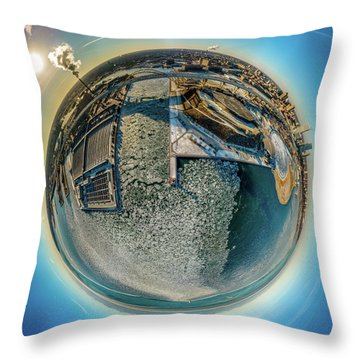Milwaukee Pierhead Light Little Planet Throw Pillow