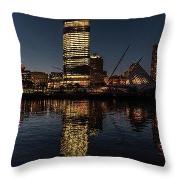 Throw Pillow featuring the photograph Milwaukee Reflections by Randy Scherkenbach