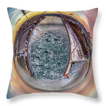 Milwaukee River Little Planet Throw Pillow