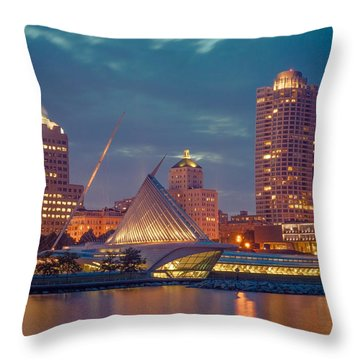 Milwaukee Skyline At Dark Throw Pillow
