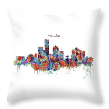 Throw Pillow featuring the mixed media Milwaukee Watercolor Skyline by Marian Voicu