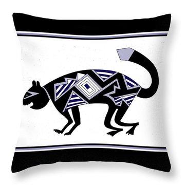 Throw Pillow featuring the digital art Mimbres Mountain Lion by Vagabond Folk Art - Virginia Vivier