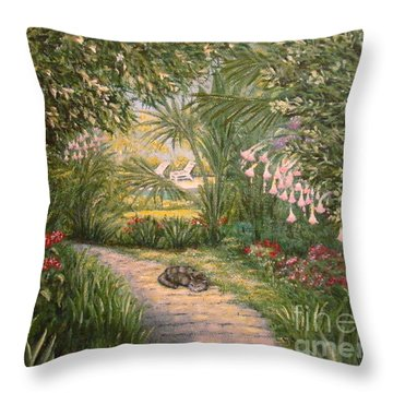 Mimi's Path Throw Pillow by Leea Baltes