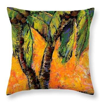 Mimosa Sky Palm Throw Pillow by Blenda Studio