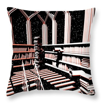 Throw Pillow featuring the digital art Mind Library Glowing by Russell Kightley