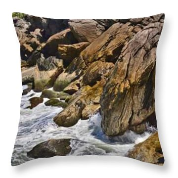 Brazilian Sea Cliffs - Guaruja - Sao Paulo Throw Pillow by Carlos Alkmin