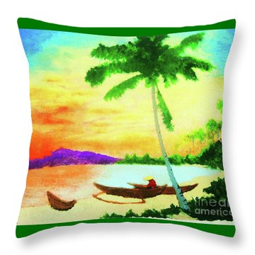 Throw Pillow featuring the painting Mindanao Sunset by Roberto Prusso