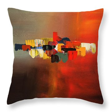 Throw Pillow featuring the painting Mindful - Abstract Art by Carmen Guedez
