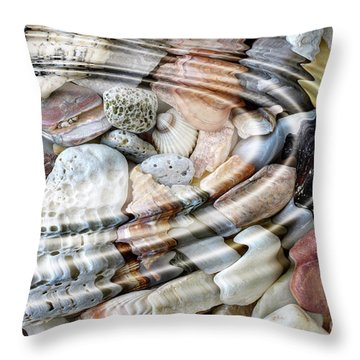 Throw Pillow featuring the digital art Minerals And Shells by Michal Boubin