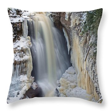 Miners Falls In The Snow Throw Pillow