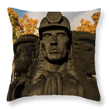 Miners In The Autumn Throw Pillow