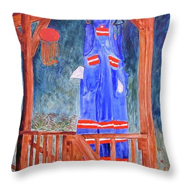 Throw Pillow featuring the painting Miner's Overalls by Sandy McIntire