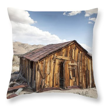 Miner's Shack In Benton Hot Springs Throw Pillow