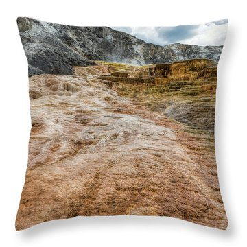 Throw Pillow featuring the photograph Minerva Hot Springs Yellowstone by John M Bailey