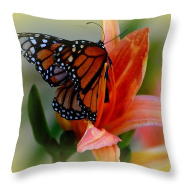 Mingle With A Monarch Throw Pillow