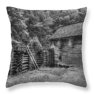 Throw Pillow featuring the photograph Mingus Mill Black And White Mingus Creek Great Smoky Mountains Art by Reid Callaway
