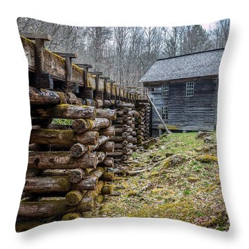 Mingus Millrace And Mill In Late Winter Throw Pillow