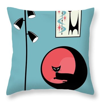 Mini Atomic Cat On Turquoise Throw Pillow