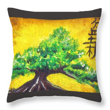 Throw Pillow featuring the painting Mini Bonsai by Shawna Rowe