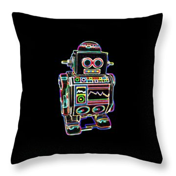 Mini D Robot Throw Pillow by DB Artist