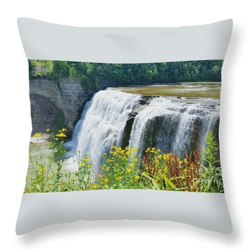 Throw Pillow featuring the photograph Mini Falls by Raymond Earley
