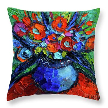 Mini Floral On Red Round Table Throw Pillow