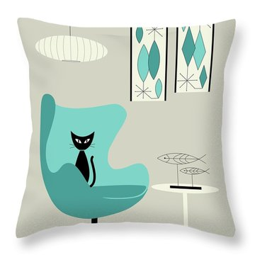 Mini Gravel Art On Gray With Black Cat Throw Pillow