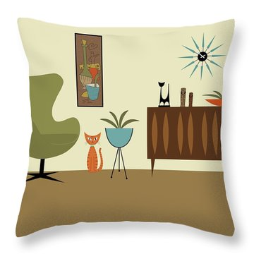 Mini Gravel Art With Orange Cat Throw Pillow