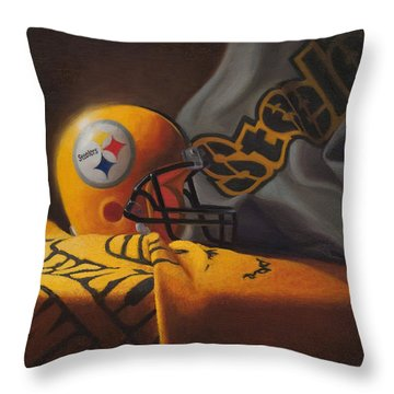 Throw Pillow featuring the painting Mini Helmet Commemorative Edition by Joe Winkler