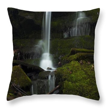 Mini Waterfall In The Forest Throw Pillow